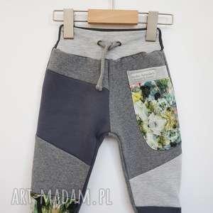 patch pants spodnie dziecięce szare 74 - 104 cm, dresowe spodnie
