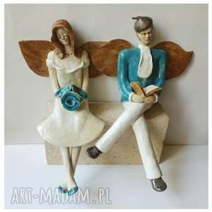 ceramika para ślubna z turkusowymi dodatkami, ceramika, ślub, anioły, róże