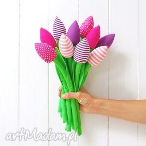 bukiet bawełnianych tulipanów - tulipany, kwiaty, bukiet, kwiatki, prezent