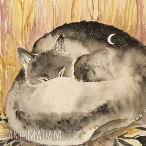 w głębi wilczego snu akwarela artystki plastyka adriany laube, akwarela, wilk, sen