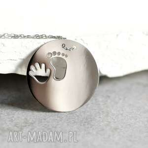 Prezent 925 Srebrny łańcuszek -Odcisk stopy i rączki-, stopa, ręka, prezent, chrzest