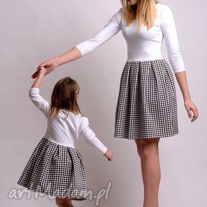 sukienki komplet sukienek w pepitke dla mamy i córki, pepitka, dresówka, dzianina