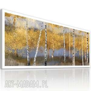 obraz drukowany na płótnie pejzaż z brzozami w odcieniach brązów 150x60cm 02515