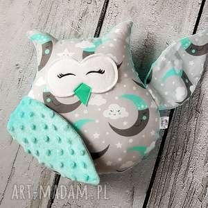 Śpiąca sowa - maskotka przytulanka, sowa, księżyc, chmurki, maskotka, przytulanka