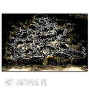 obraz na płótnie księżycowe drzewo 150x100, drzewo, z drzewem, czarno