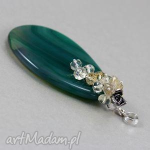 wisiorki agat zielony cytryn i srebro - wisior grono, agat, cytryn, wisior, kwiat