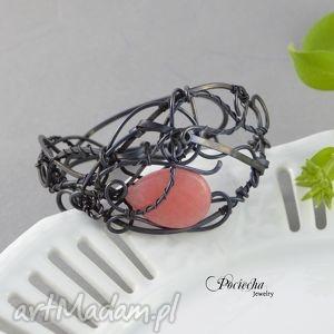 Prezent japan - bransoletka z jadeitem, bransoletka, miedź, róż, jadeit, wirewrapping