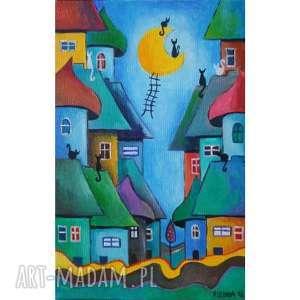 obraz na płótnie bajkowe miasteczko format 30/20cm, bajka, obraz, domki, kolor, koty