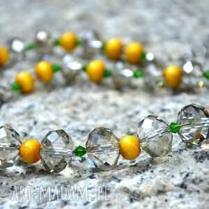 handmade naszyjniki żółto-szary delikatny naszyjnik z koralików szklanych