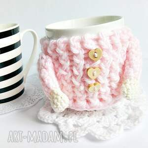 Otulacz na kubek - pudrowy sweterek - HandMade
