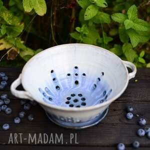 misa do serwowania umytych owoców / berry bowl biało niebieska, ceramika