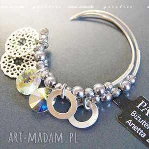 srebro kolczyki - swarovski crystal ab w srebrze, swarovski, koła, zawieszki