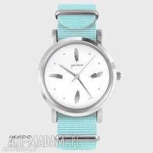 zegarek, bransoletka - szare piórka niebieski, nato, bransoletka, nato