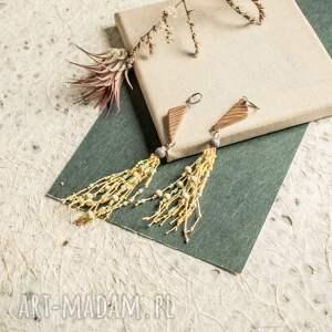 drewniane kolczyki z żółtym lnem, kolczytki lniana biżuteria, letnie
