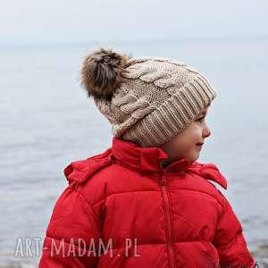 czapki czapka zimowa z pomponem, na zimę, ciepła beżowa