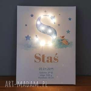 ręcznie zrobione pokoik dziecka świecąca litera led personalizowany obraz metryczka dla