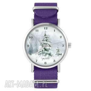 zegarek - zimowy, choinka fiolet, nylonowy, zegarek, nylonowy pasek, militarny
