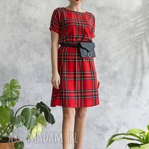 sukienka w szkocką kratkę, sukienka, midi, wiskoza, wygodna, uniwersalna