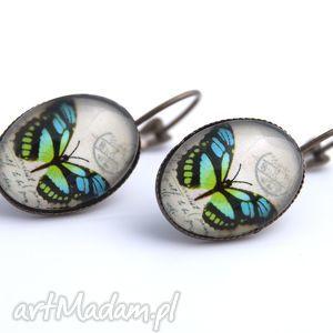 świąteczny prezent, kolczyki motyle blue, kolczyki, motyle, motylki, motyl, wiszące