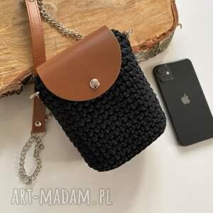 mini mała torebka na telefon damska szydełkowa, szydełkowa torebka