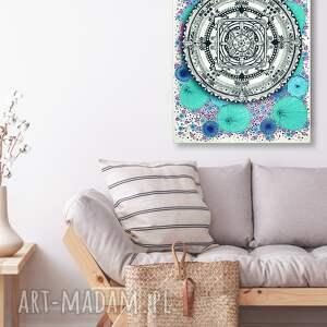 mandala a1, mandala, kwiaty, plakat, sztuka, dom, ilustracja