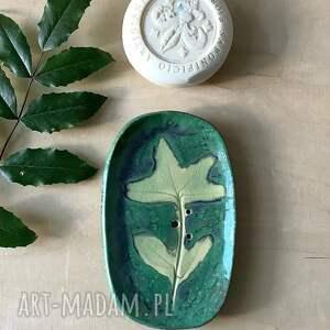 hand made ceramika mydelniczka zieleń
