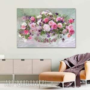róże w wazonie 120 x 80, obraz na płótnie do salonu, sypialni, jadalni