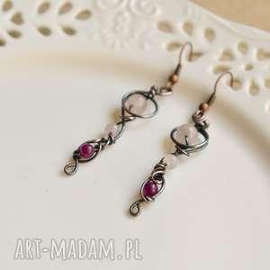 Pinkie - długie kolczyki kwarcem różowym i jadeitem pracownia