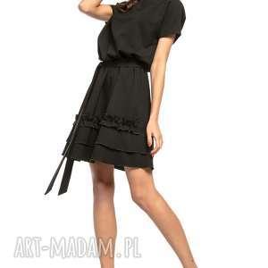 Sukienka z ozdobną falbanką na spódnicy, T267, czarny, elegancka, sukienka