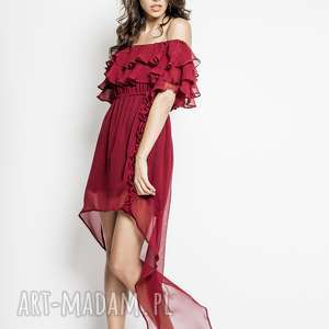 MIA - CZERWONA JEDWABNA HISZPANKA, sukienka-hiszpanka, czerwona-sukienka