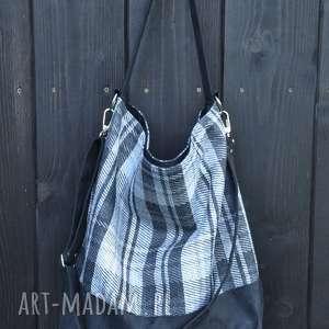 na ramię duża torba worek - krata, print, alcantara, worek, hobo