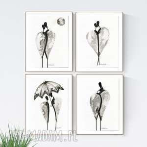 zamówienie zestaw 4 grafik 30 x 40 cm, obrazy ręcznie malowane, grafiki