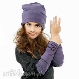 ubranka dzianinowy zestaw czapka dziecięca rękawki mitenki purple, czapeczka