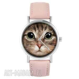 handmade zegarki zegarek - kot tygrysek pudrowy róż, skórzany