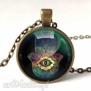 hamsa - medalion z łańcuszkiem - orientalny, ręka, oko