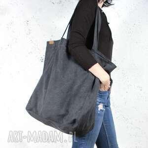 hand made na ramię big lazy bag duża, bawełniana, czarna torba zamek /