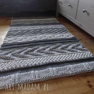 dywan dziergany folk, sznurek, bawełniany, eko dywan