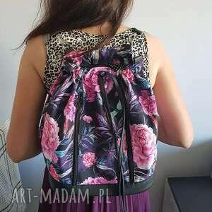 handmade upominki na święta plecak worek torba - piwonie