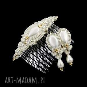komplet ślubny candy gold soutache, perły, ślub, zestaw, sutasz,