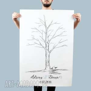 ręcznie wykonane księgi gości plakat drzewo wpisów 60x90 cm 3 tusze