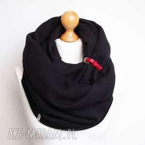 czarny zimowy komin tuba szal bawełniany z zapinką, modny dresowy na zimę