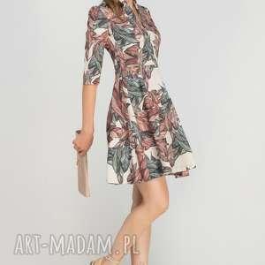 Sukienka rozkloszowana, SUK147 liście, casual, dekold, elegancka