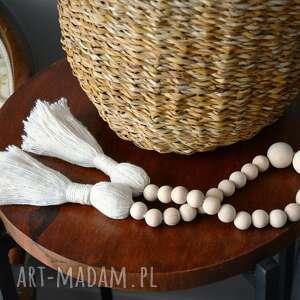 dekoracje girlanda drewniana, girlanda, kulki, frędzel, makrama