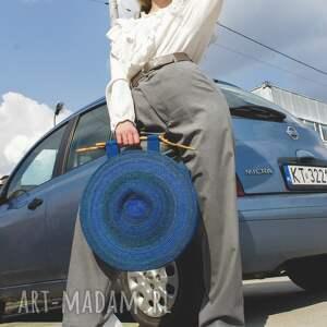 okrągła torba w błękitach, torebka, torba, okrągła, prezent, oryginalna