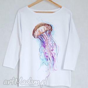 MEDUZA bluzka bawełniana oversize S/M biała, bluzka, bluza, koszulka, bawełna, nadruk