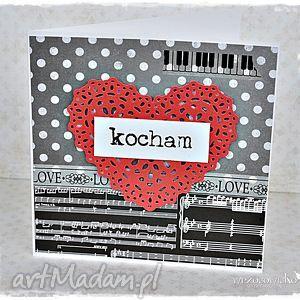 hand-made scrapbooking kartki miłość jak z nut...kartka