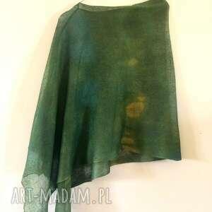 zielone lniane ponczo z kapką musztardy, ponczo, narzutka, sweter, tunika, one
