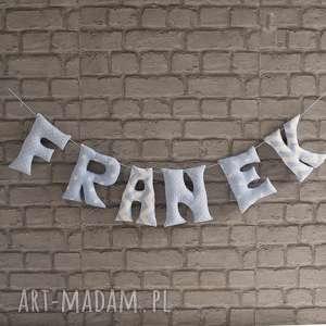 Prezent literki bawełniane Franek, litery, literki, chłopiec, ozdoba,