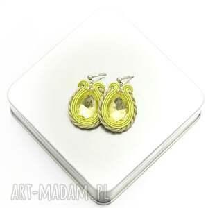 kolczyki soutache female light olivine, stylowe, kobiecie, sutasz, soutache, oliwka