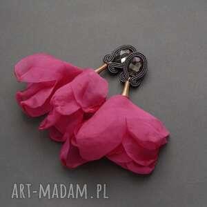 kolczyki sutasz z kwiatkiem, sznurek, eleganckie, długie, fuksja, wiszące